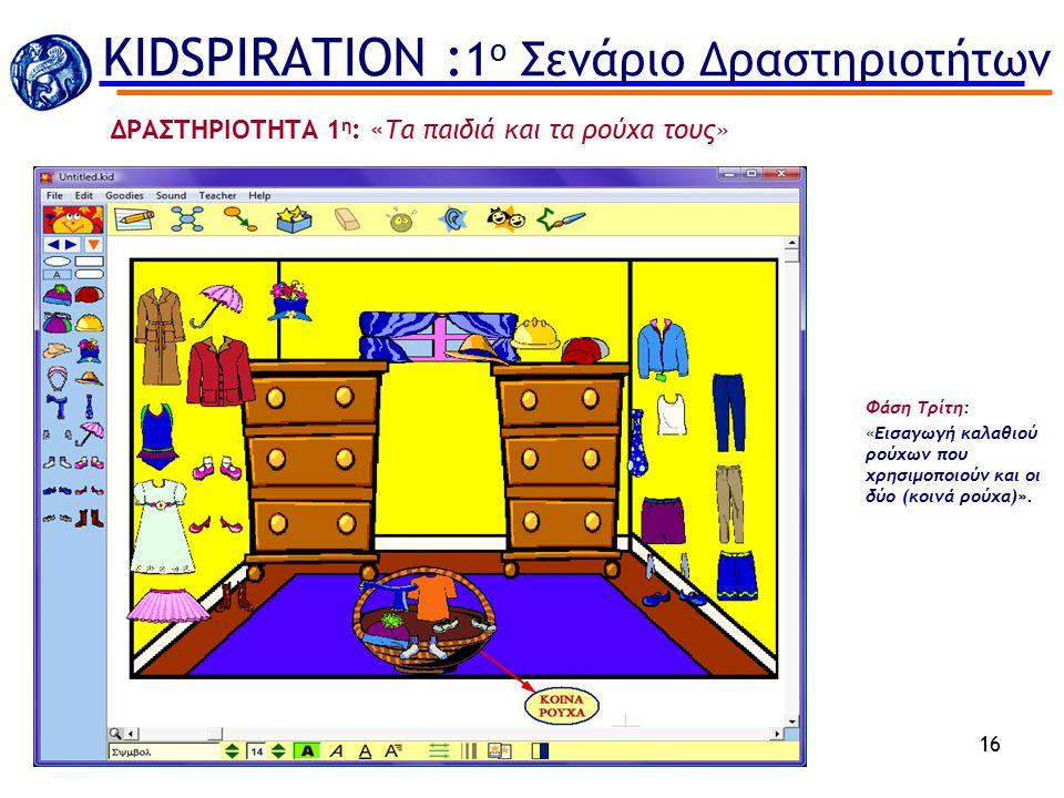 KIDSPIRATION :1ο Σενάριο Δραστηριοτήτων