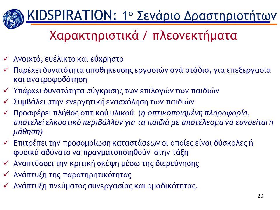 KIDSPIRATION: 1ο Σενάριο Δραστηριοτήτων