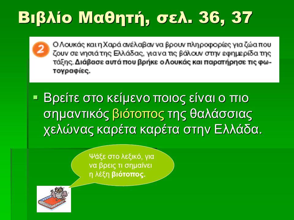 Βιβλίο Μαθητή, σελ. 36, 37 Βρείτε στο κείμενο ποιος είναι ο πιο σημαντικός βιότοπος της θαλάσσιας χελώνας καρέτα καρέτα στην Ελλάδα.