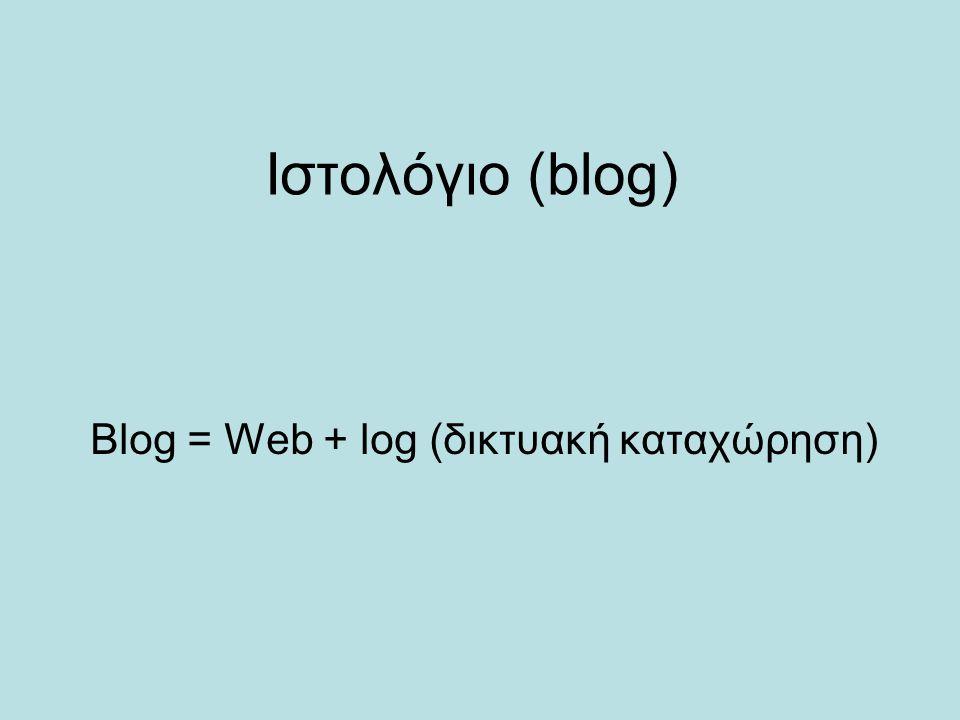 Blog = Web + log (δικτυακή καταχώρηση)