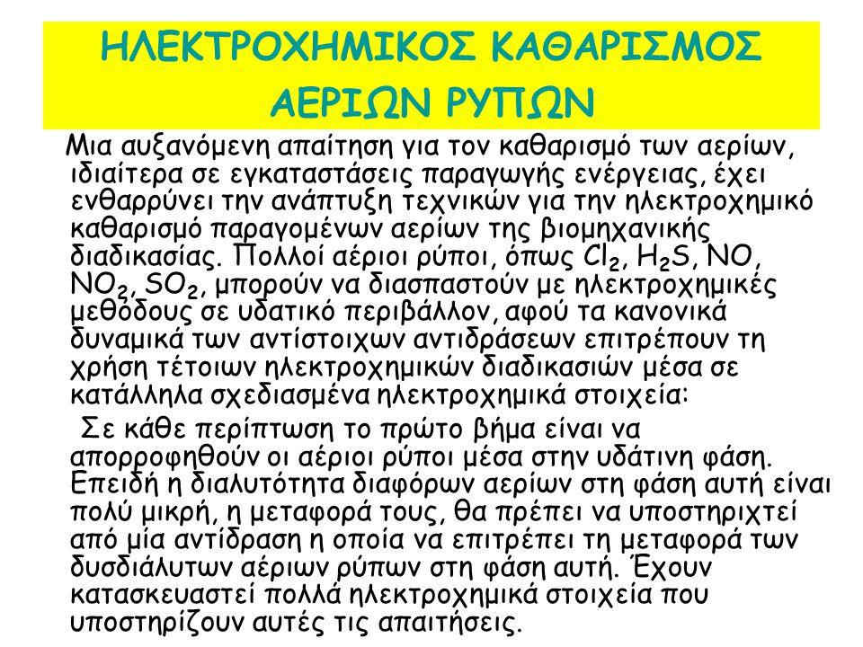 ΗΛΕΚΤΡΟΧΗΜΙΚΟΣ ΚΑΘΑΡΙΣΜΟΣ ΑΕΡΙΩΝ ΡΥΠΩΝ