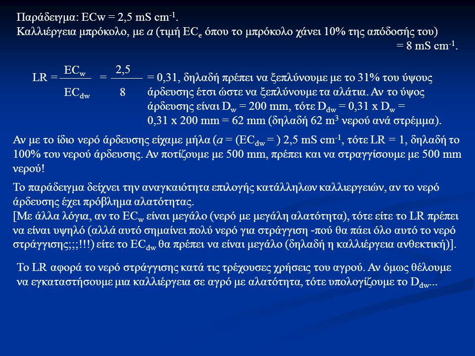 Παράδειγμα: ECw = 2,5 mS cm-1.
