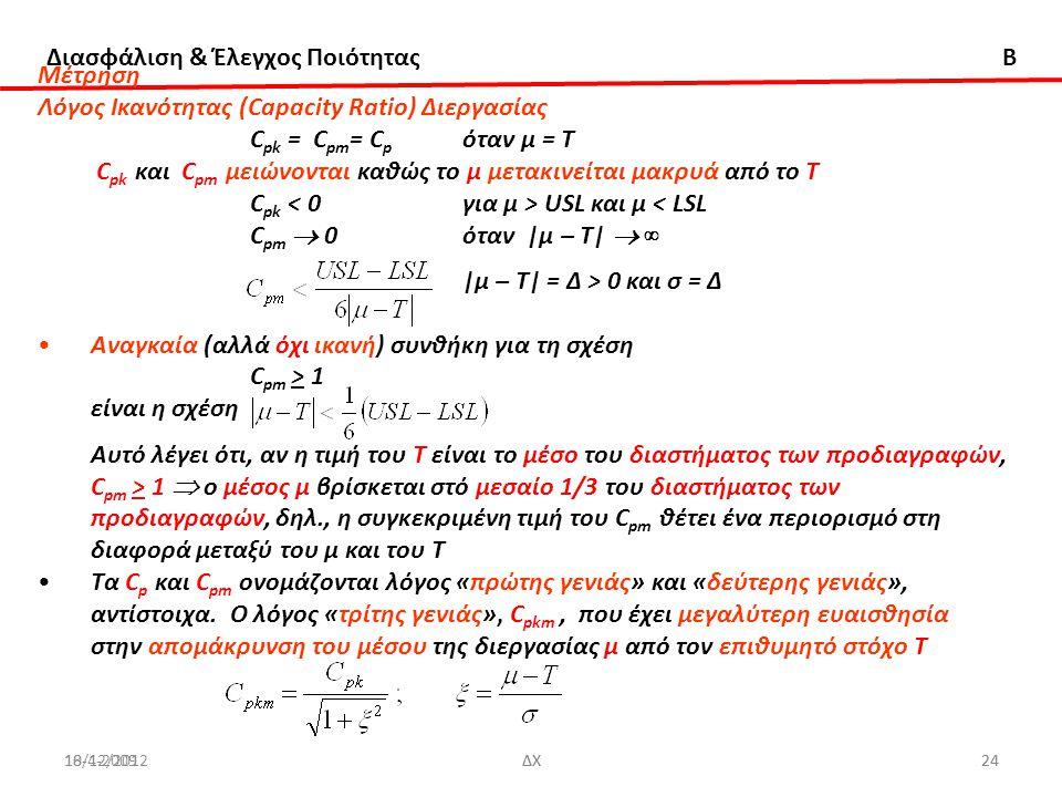 Λόγος Ικανότητας (Capacity Ratio) Διεργασίας Cpk = Cpm= Cp όταν μ = Τ