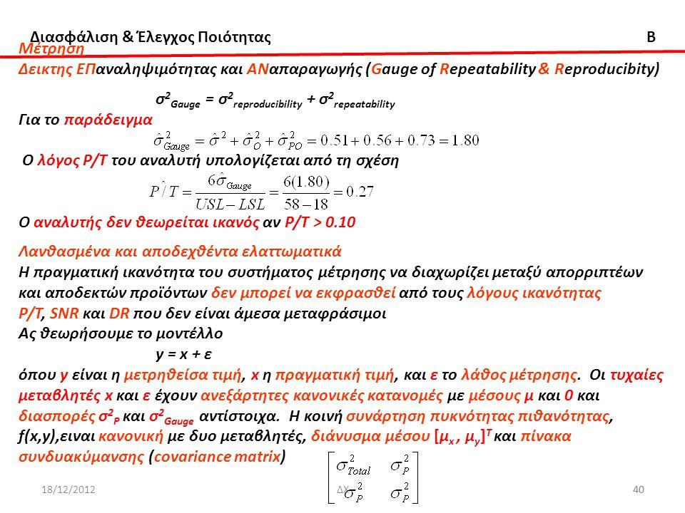 σ2Gauge = σ2reproducibility + σ2repeatability Για το παράδειγμα