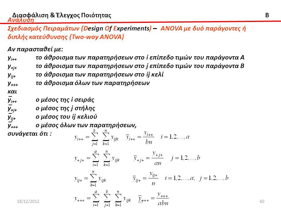 διπλής κατεύθυνσης (Two-way ANOVA) Αν παρασταθεί με: