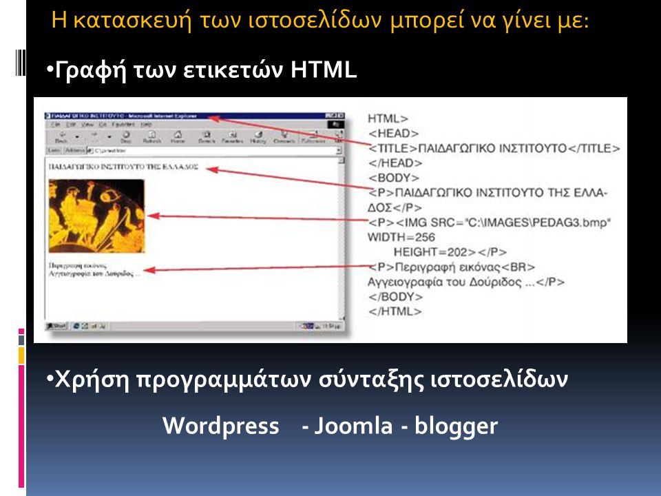 H κατασκευή των ιστοσελίδων μπορεί να γίνει με:
