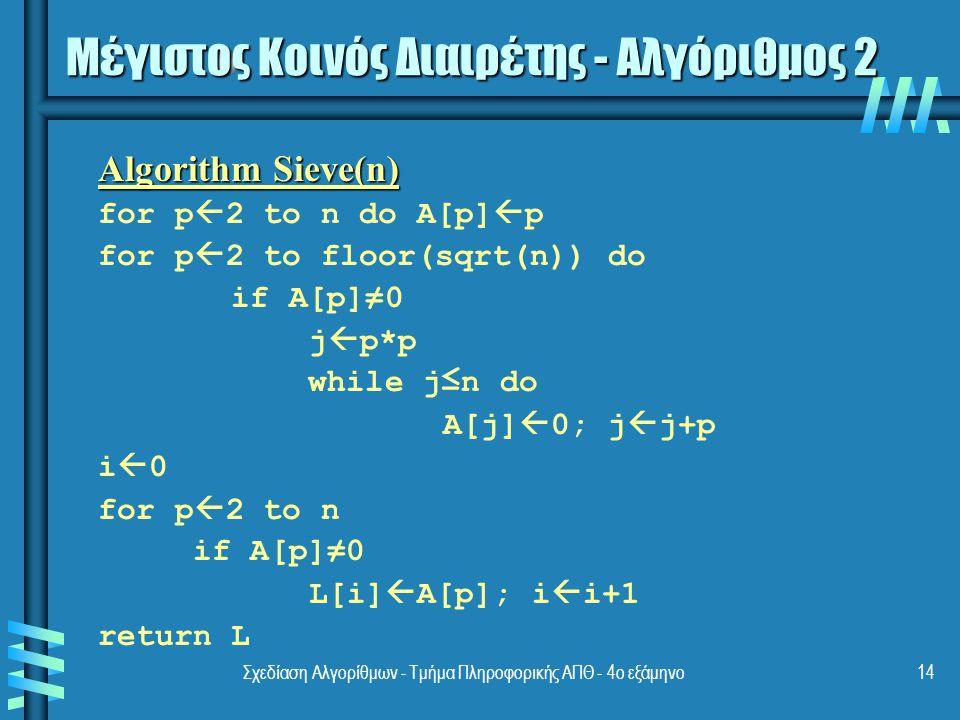 Μέγιστος Κοινός Διαιρέτης - Αλγόριθμος 2