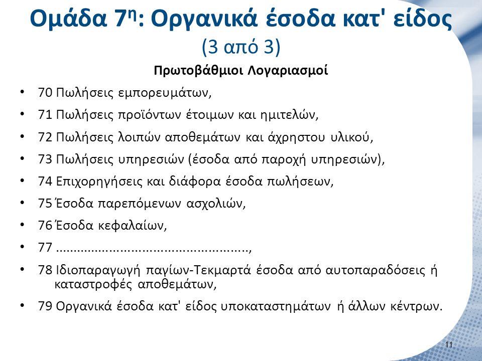 Ομάδα 8η: Λογαριασμός αποτελεσμάτων (1 από 2)