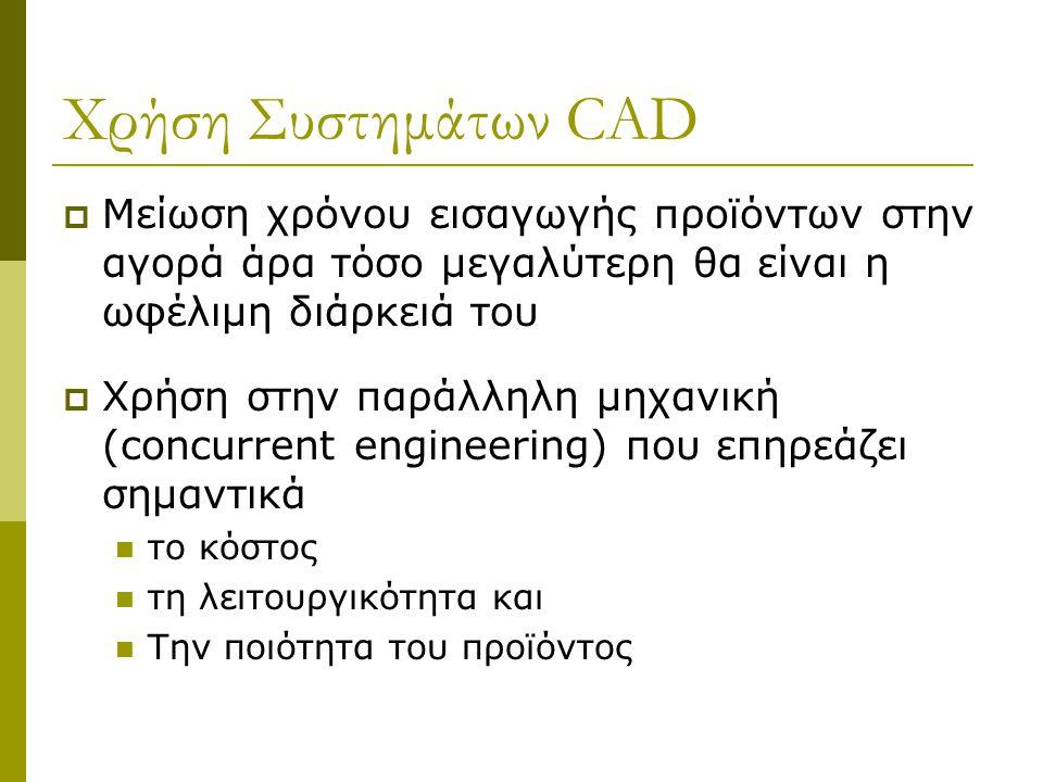 Χρήση Συστημάτων CAD Μείωση χρόνου εισαγωγής προϊόντων στην αγορά άρα τόσο μεγαλύτερη θα είναι η ωφέλιμη διάρκειά του.