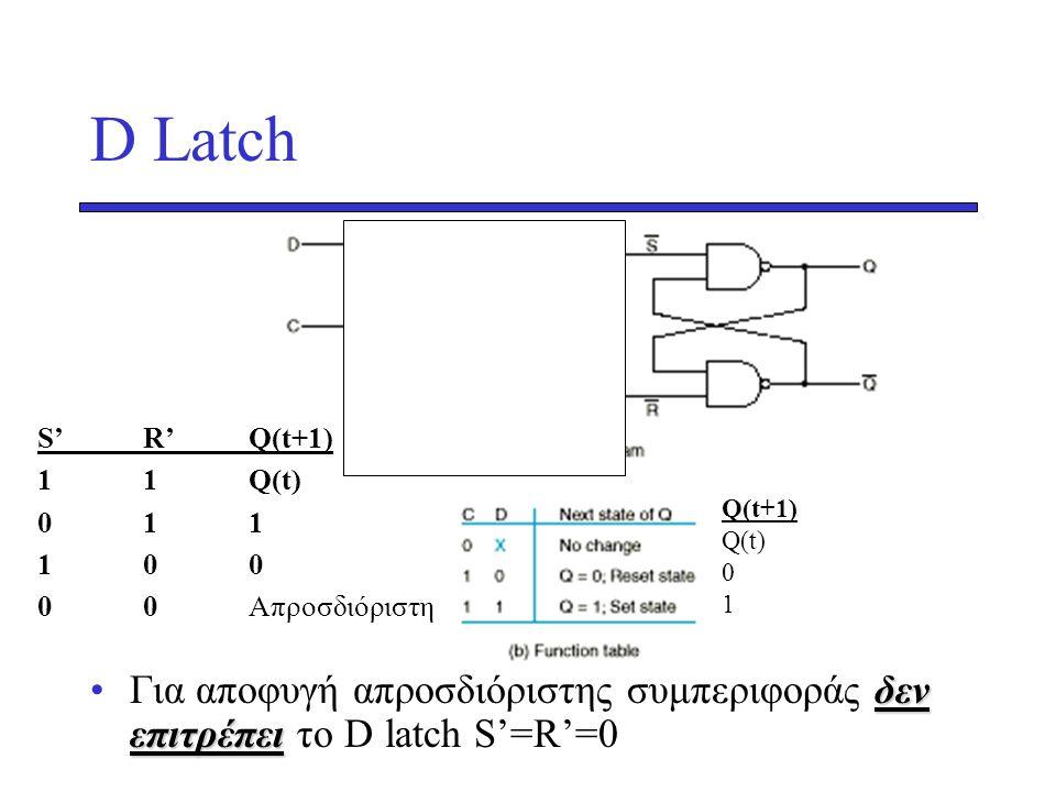 D Latch Για αποφυγή απροσδιόριστης συμπεριφοράς δεν επιτρέπει το D latch S'=R'=0. S' R' Q(t+1) 1 1 Q(t)