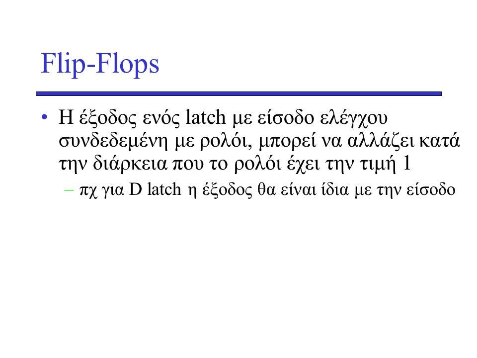 Flip-Flops Η έξοδος ενός latch με είσοδο ελέγχου συνδεδεμένη με ρολόι, μπορεί να αλλάζει κατά την διάρκεια που το ρολόι έχει την τιμή 1.