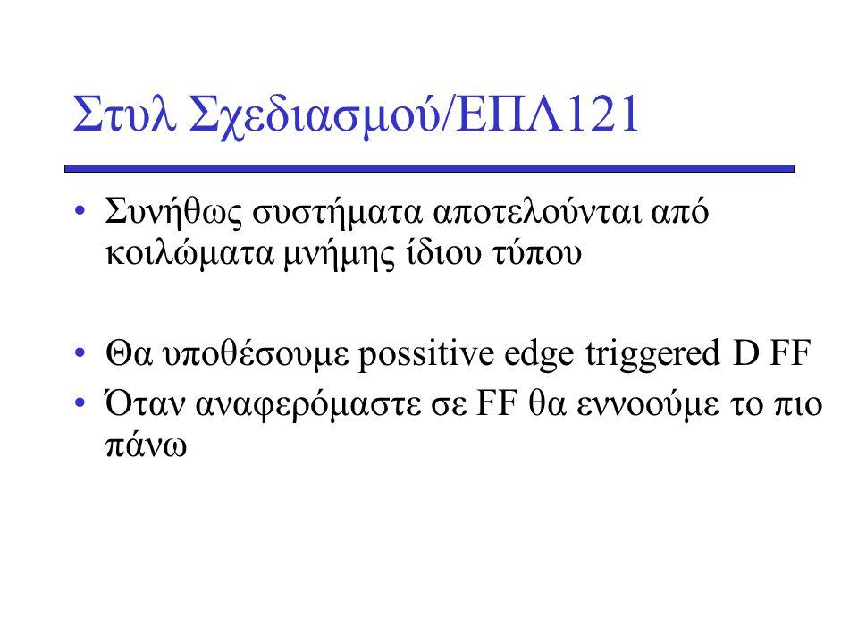 Στυλ Σχεδιασμού/ΕΠΛ121 Συνήθως συστήματα αποτελούνται από κοιλώματα μνήμης ίδιου τύπου. Θα υποθέσουμε possitive edge triggered D FF.