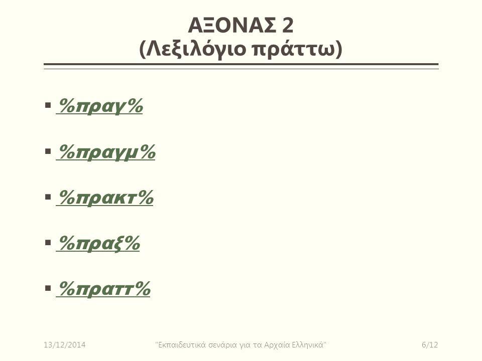 ΑΞΟΝΑΣ 2 (Λεξιλόγιο πράττω)