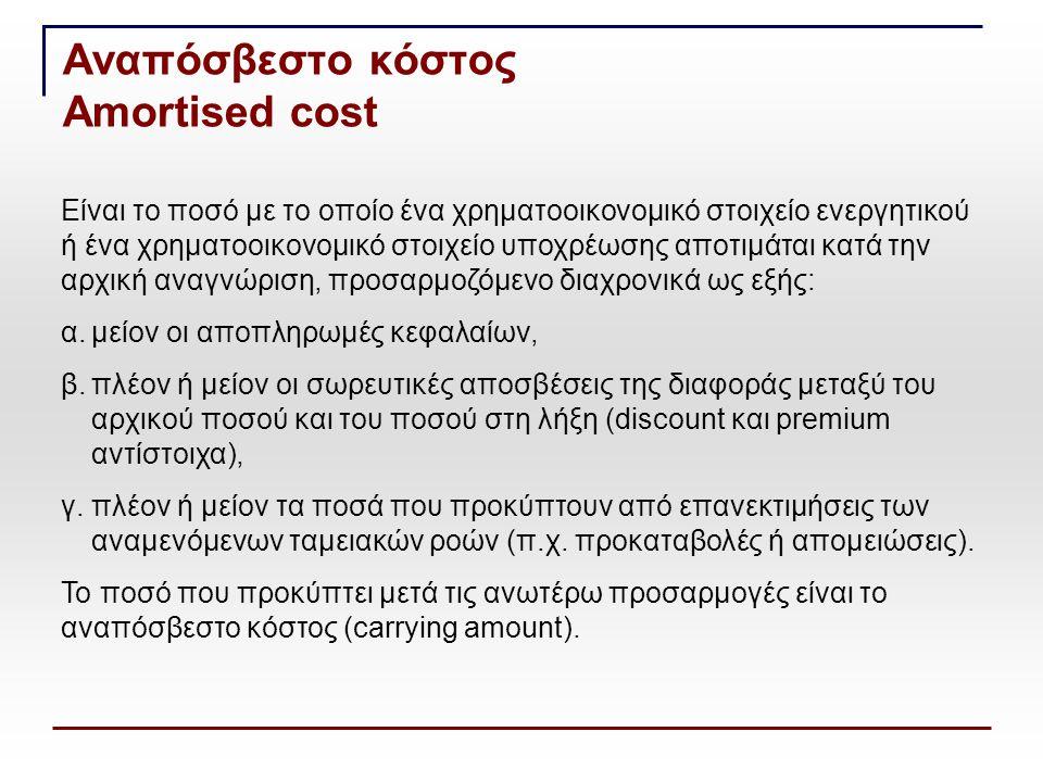 Αναπόσβεστο κόστος Amortised cost