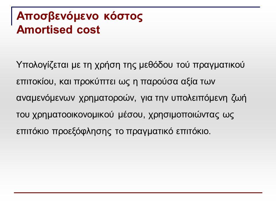 Αποσβενόμενο κόστος Amortised cost