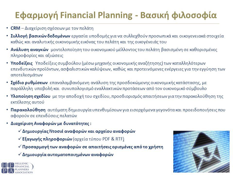 Εφαρμογή Financial Planning - Βασική φιλοσοφία