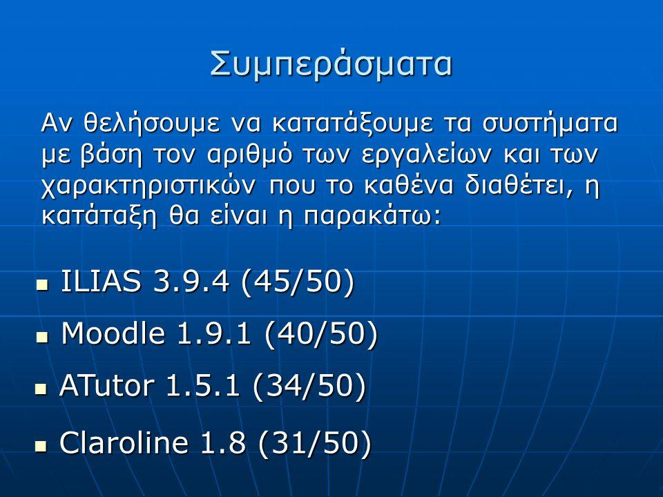 Συμπεράσματα ILIAS 3.9.4 (45/50) Moodle 1.9.1 (40/50)