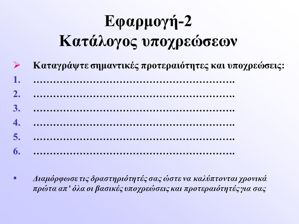 Εφαρμογή-2 Κατάλογος υποχρεώσεων