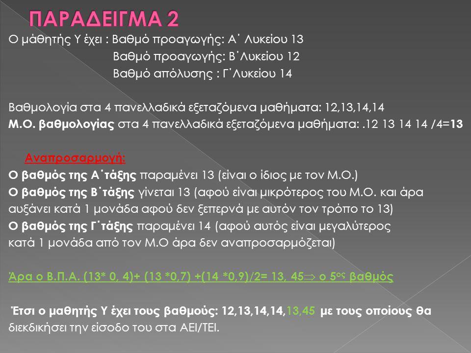 ΠΑΡΑΔΕΙΓΜΑ 2 Ο μάθητής Υ έχει : Βαθμό προαγωγής: Α΄ Λυκείου 13