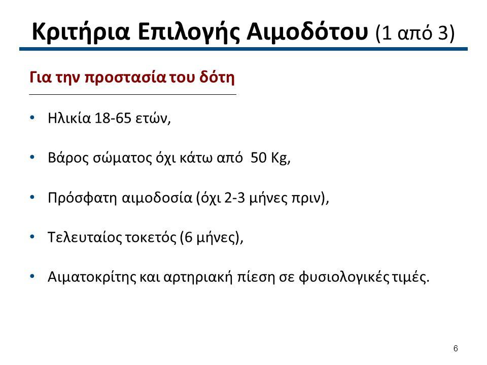 Κριτήρια Επιλογής Αιμοδότου (2 από 3)