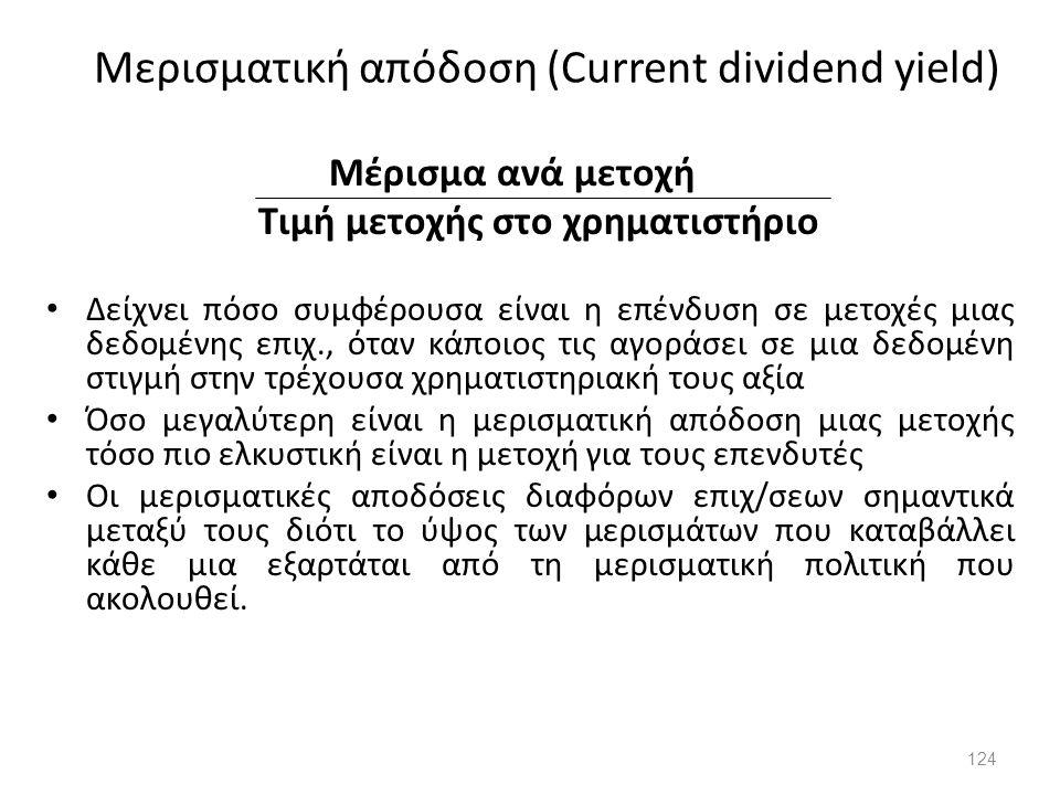 Μερισματική απόδοση (Current dividend yield)