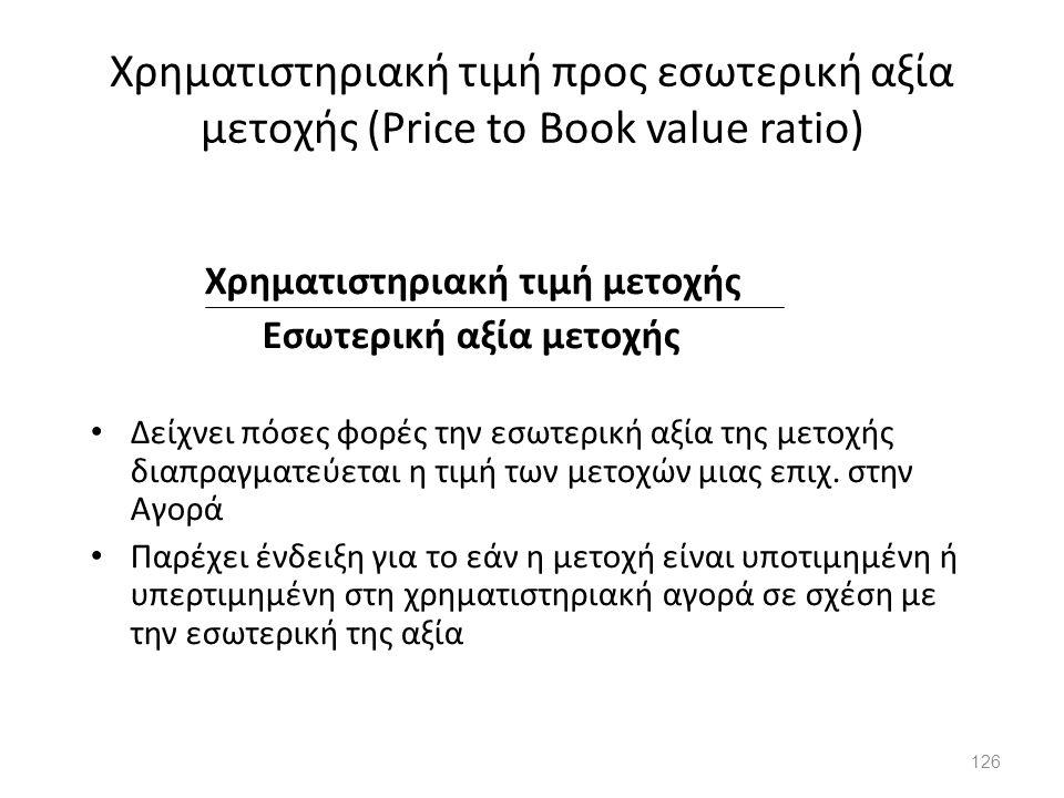 Χρηματιστηριακή τιμή προς εσωτερική αξία μετοχής (Price to Book value ratio)
