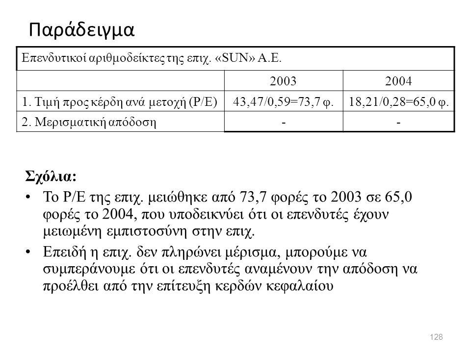 Παράδειγμα Επενδυτικοί αριθμοδείκτες της επιχ. «SUN» A.E. 2003. 2004. 1. Τιμή προς κέρδη ανά μετοχή (P/E)