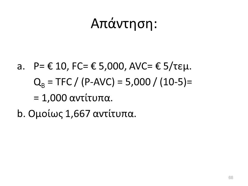 Απάντηση: P= € 10, FC= € 5,000, AVC= € 5/τεμ.
