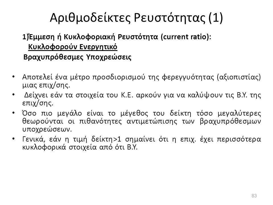 Αριθμοδείκτες Ρευστότητας (1)