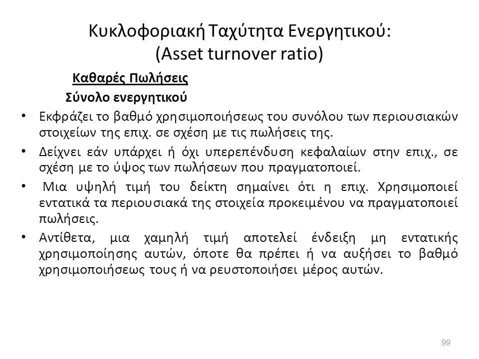 Κυκλοφοριακή Ταχύτητα Ενεργητικού: (Asset turnover ratio)