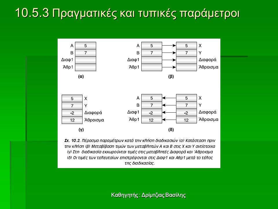 10.5.3 Πραγματικές και τυπικές παράμετροι