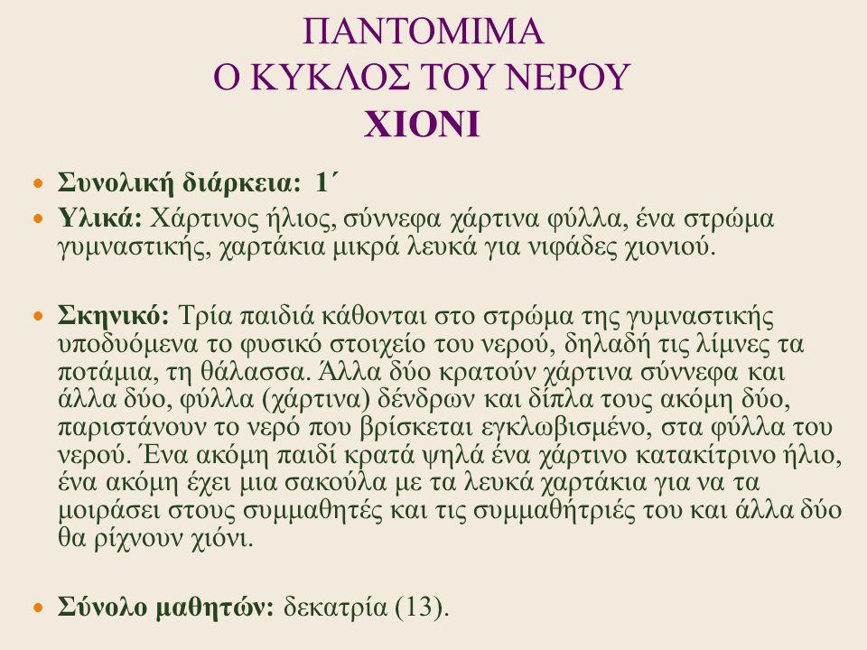 ΠΑΝΤΟΜΙΜΑ Ο ΚΥΚΛΟΣ ΤΟΥ ΝΕΡΟΥ ΧIONI