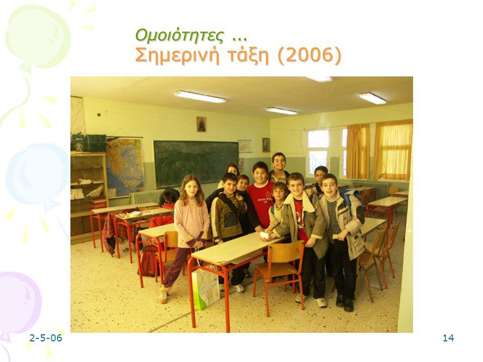 Ομοιότητες … Σημερινή τάξη (2006)