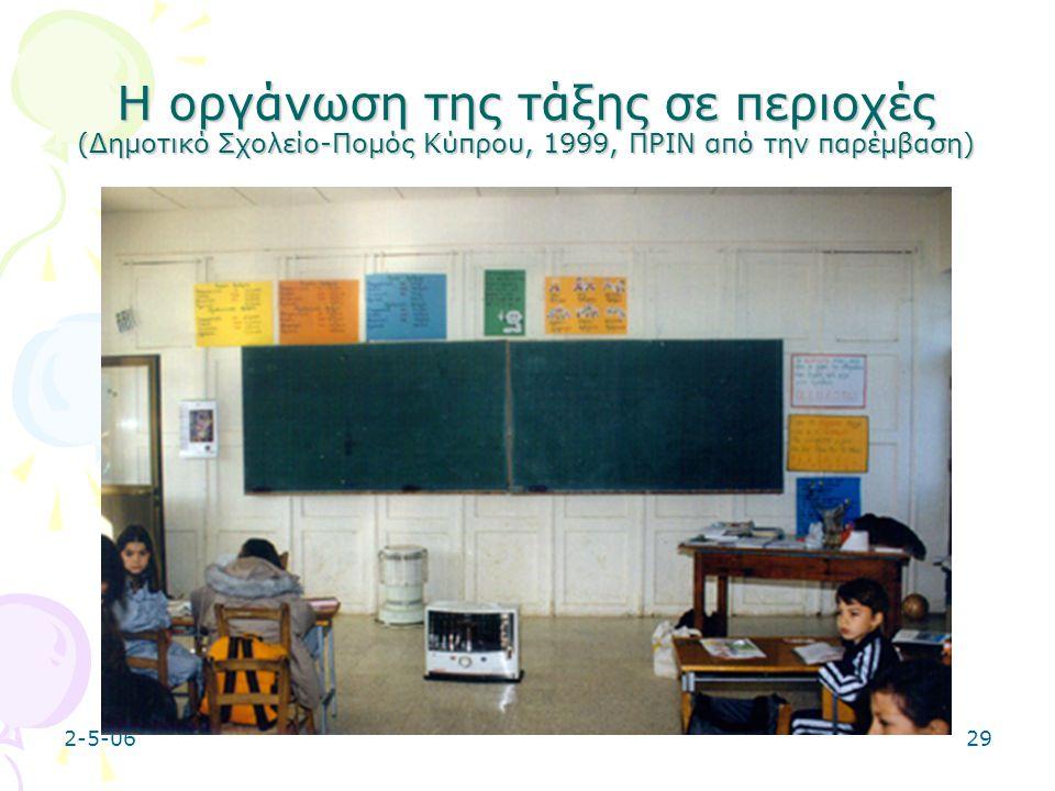 Η οργάνωση της τάξης σε περιοχές (Δημοτικό Σχολείο-Πομός Κύπρου, 1999, ΠΡΙΝ από την παρέμβαση)