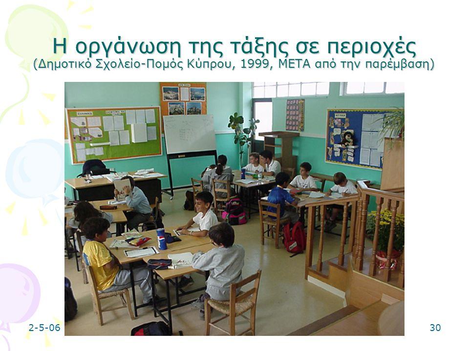 Η οργάνωση της τάξης σε περιοχές (Δημοτικό Σχολείο-Πομός Κύπρου, 1999, ΜΕΤΑ από την παρέμβαση)