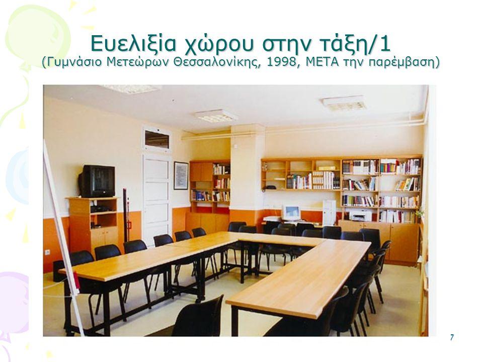 Ευελιξία χώρου στην τάξη/1 (Γυμνάσιο Μετεώρων Θεσσαλονίκης, 1998, ΜΕΤΑ την παρέμβαση)