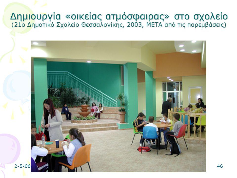 Δημιουργία «οικείας ατμόσφαιρας» στο σχολείο (21ο Δημοτικό Σχολείο Θεσσαλονίκης, 2003, META από τις παρεμβάσεις)