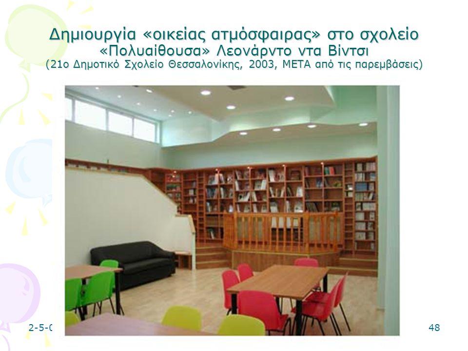 Δημιουργία «οικείας ατμόσφαιρας» στο σχολείο «Πολυαίθουσα» Λεονάρντο ντα Βίντσι (21ο Δημοτικό Σχολείο Θεσσαλονίκης, 2003, META από τις παρεμβάσεις)