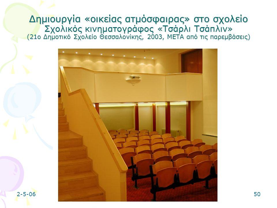 Δημιουργία «οικείας ατμόσφαιρας» στο σχολείο Σχολικός κινηματογράφος «Τσάρλι Τσάπλιν» (21ο Δημοτικό Σχολείο Θεσσαλονίκης, 2003, META από τις παρεμβάσεις)