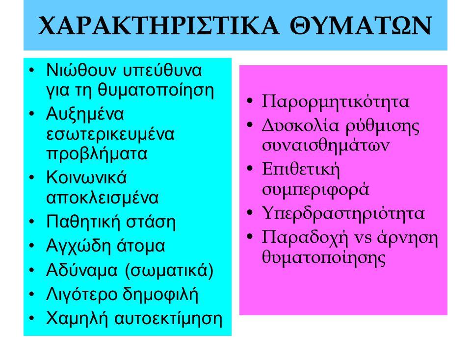 ΧΑΡΑΚΤΗΡΙΣΤΙΚΑ ΘΥΜΑΤΩΝ