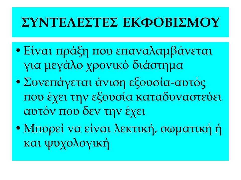 ΣΥΝΤΕΛΕΣΤΕΣ ΕΚΦΟΒΙΣΜΟΥ