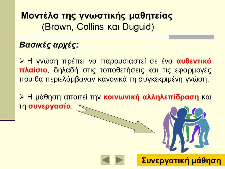 Mοντέλο της γνωστικής μαθητείας (Brown, Collins και Duguid)