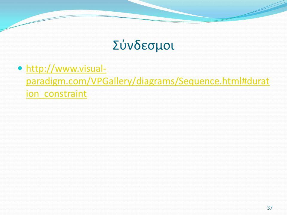Σύνδεσμοι http://www.visual-paradigm.com/VPGallery/diagrams/Sequence.html#duration_constraint