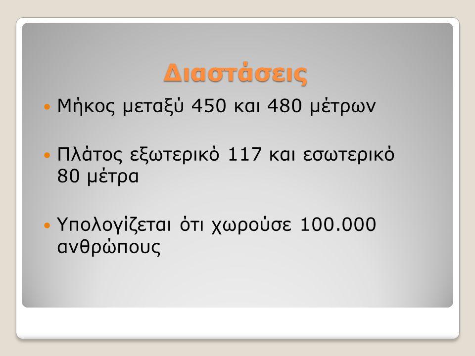 Διαστάσεις Μήκος μεταξύ 450 και 480 μέτρων