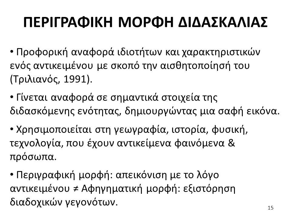 ΠΕΡΙΓΡΑΦΙΚΗ ΜΟΡΦΗ ΔΙΔΑΣΚΑΛΙΑΣ