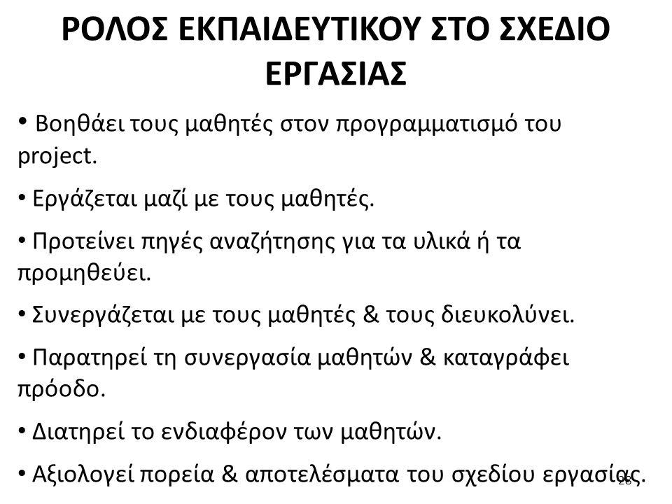ΡΟΛΟΣ ΕΚΠΑΙΔΕΥΤΙΚΟΥ ΣΤΟ ΣΧΕΔΙΟ ΕΡΓΑΣΙΑΣ