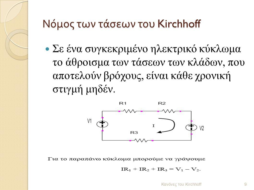 Νόμος των τάσεων του Kirchhoff