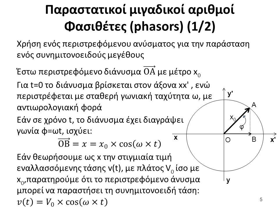 Παραστατικοί μιγαδικοί αριθμοί Φασιθέτες (phasors) (2/2)