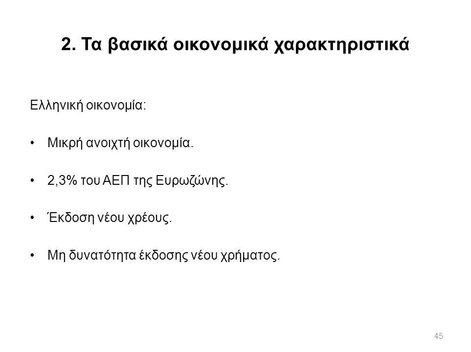 2. Τα βασικά οικονομικά χαρακτηριστικά
