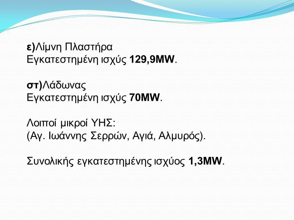 ε)Λίμνη Πλαστήρα Εγκατεστημένη ισχύς 129,9MW